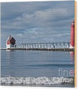 Grand Haven Winter Wood Print