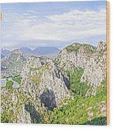 Grand Mountain And Farm  Wood Print by Anek Suwannaphoom
