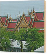 Grand Palace Of Thailand From Waterways Of Bangkok-thailand Wood Print