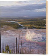Grand Prismatic At Dusk Wood Print