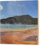 Grand Prismatic Hot Spring Pool At Yellowstone National Park Wood Print