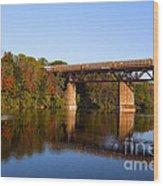 Grand River Autumn Freight Train Wood Print
