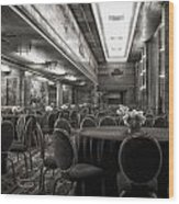 Grand Salon 05 Queen Mary Ocean Liner Bw Wood Print
