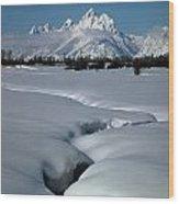 1m9304-grand Teton From Jackson Hole, Winter, H Wood Print