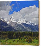 Grand Teton Mountains Wood Print