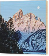 Grand Teton National Park Moonset Wood Print