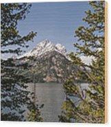 Grand Teton On Jenny Lake - Grand Teton National Park Wyoming Wood Print