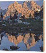 1m9376-grand Teton Reflect 2 Wood Print