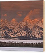 Grand Teton Winter Sunrise  Wood Print