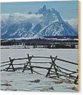 1m9306-grand Tetons From Ranch Country Wood Print