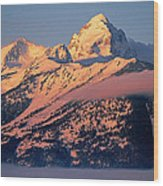Grand Tetons In Winter Wood Print