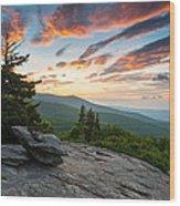 Grandfather Mountain Blue Ridge Parkway Nc Beacon Heights At Sunrise Wood Print