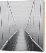 Grandfather Mountain Heavy Fog - Bridge To Nowhere Wood Print