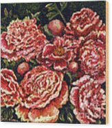 Grandma Lights Peonies Wood Print