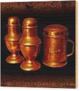 Grandma's Kitchen-copper Salt Pepper  And Flour Shakers Wood Print