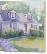 Grandmothers Cottage Watercolor Portrait Wood Print