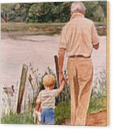 Little Boy And Grandpa In Park Wood Print