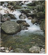 Granite Boulders In A River  Wood Print
