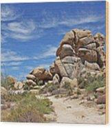 Granite Boulders In The Desert Wood Print