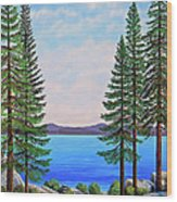 Granite Boulders Lake Tahoe Wood Print