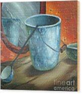 Granite Bucket Reflections Wood Print