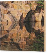 Granite Cliffs And Reflections In A Quarry Lake Wood Print