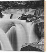 Granite Falls Black And White Wood Print