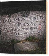 Granite Monument Quoddy Head State Park Wood Print