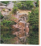 Granite Quarry And Reflections In The Missouri Ozarks Wood Print