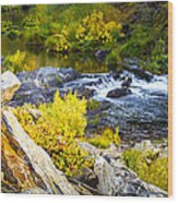 Granite Rocks Above The Cascading Feather River, Quincy California Wood Print
