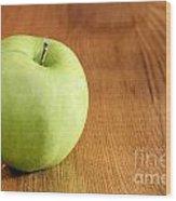 Granny Smith Apple On Table Wood Print