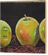 Granny Smith On Red Wood Print