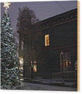 Grants Pass Town Center Christmas Tree Wood Print
