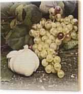 Grapes And Garlic Wood Print