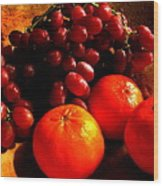 Grapes And Tangerines Wood Print