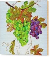 Grapes Wood Print by Elena Mahoney