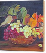 Grapes In Basket Wood Print