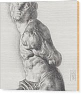Graphite Drawing Of The Rebellious Slave Sculpture By Michelangelo Buonarotti Wood Print