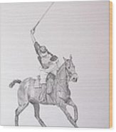 Graphite Drawing - Shooting For The Polo Goal Wood Print by Roena King