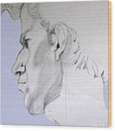 Graphite Portrait Sketch Of A Young Man In Profile Wood Print