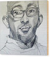 Graphite Portrait Sketch Of A Young Man With Glasses Wood Print