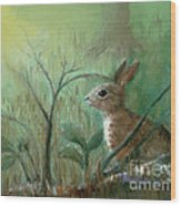 Grass Rabbit Wood Print