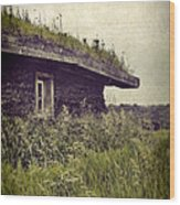Grass Roof On Cottage Wood Print
