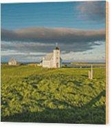 Grasslands And Flatey Church, Flatey Wood Print