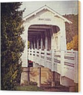 Grave Creek Covered Bridge Wood Print