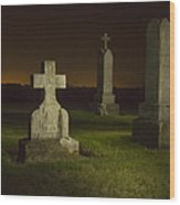 Gravestones At Night Painted With Light Wood Print