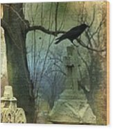 Graveyard Cross Wood Print