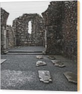 Graveyard In Church Ruin - Ireland Wood Print