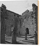 graveyard in the ruins of Cong Abbey county mayo ireland Wood Print