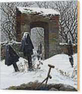 Graveyard Under Snow Wood Print